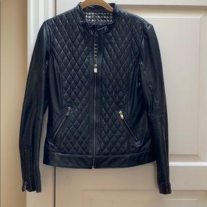 Bod & Christensen Quilted Blk Leather Jacket Sz M